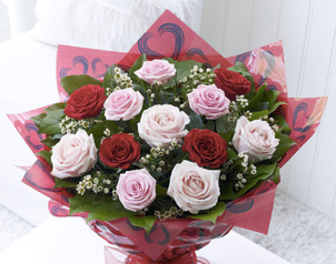 Mixed Rose Valentines Flowers Loughton