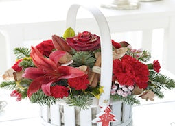 Christmas Flowers - Warm Wishes Festive Christmas Basket