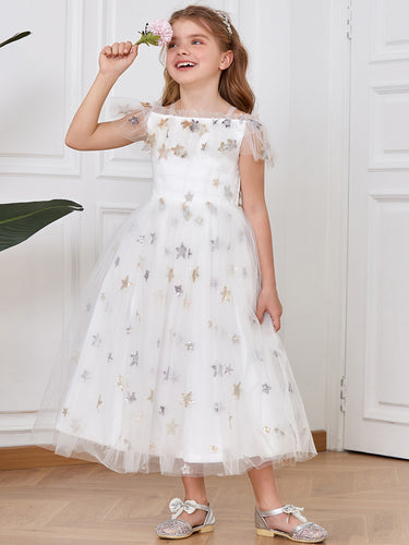 Color=White | Adorable Flower Girl Dress with Stars-White 1