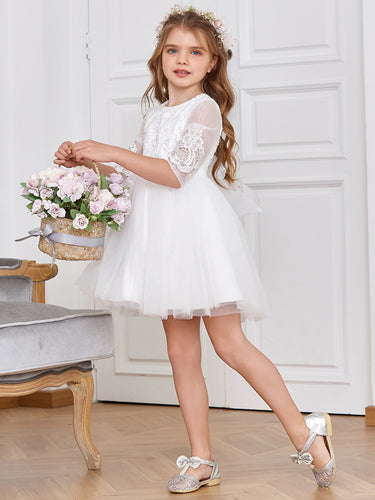 Color=White | Adorable Flower Girl Dress with Round Neck-White 1