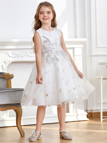 Color=White | Sleeveless Flower Girl Dress with Round Neck-White 1