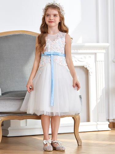 Color=White |Cute Round Neckline Knee Length Embroidery Flower Girl Dresses -White 1