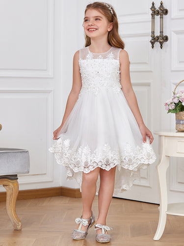 Color=White | Adorable High-Low A-Line Round Neckline Flower Girl Dresses - White 1