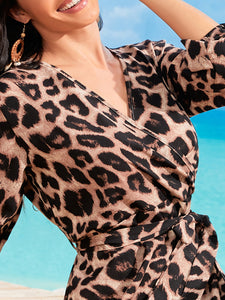 Color=Brown | Leopard Wholesale Print Sexy Summer Dress for Women-Brown 5