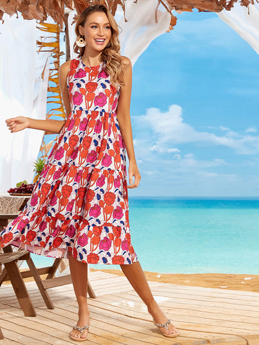 Color=Red |Cool Floral Print Sleeveless Summer Dress - Red 1