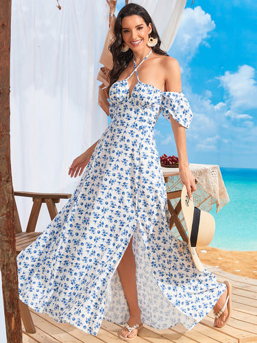 Color=White | Cute and Adorable Summer Dress for Women with Split Design - White 1