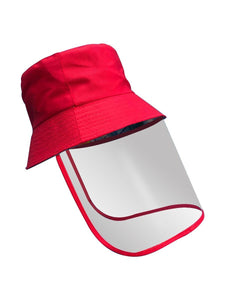 Color=Red | Transparent Full Face Outdoor Protection Hat-Red 1