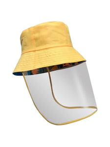 Color=Yellow | Transparent Full Face Outdoor Protection Hat-Yellow 1