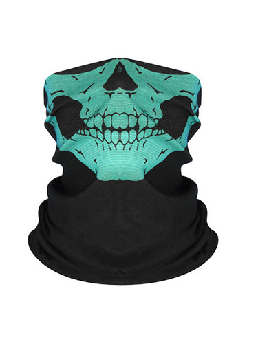 Color=Aqua | Skeleton Printed Breathable Monster Face Protective Neck Gaiter -Aqua 1