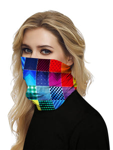Color=Multicolor1 | Seamless Bandana Face Covering Neck Gaiter Scarf-Multicolor1 2