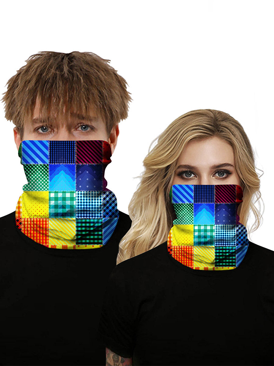 Color=Multicolor1 | Seamless Bandana Face Covering Neck Gaiter Scarf-Multicolor1 1