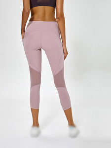 Color =Pink | High Waist Yoga Pants With Pocket Breathable Mesh-Pink 2