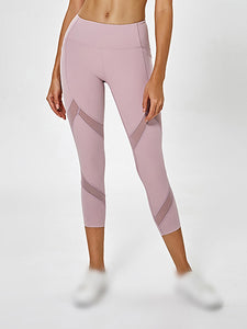 Color =Pink | High Waist Yoga Pants With Pocket Breathable Mesh-Pink 1