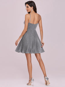 Color=Grey | Spaghetti Strap Shiny Pleated Wholesale Mini Cocktail Dress-Grey 3
