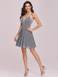 Color=Grey | Spaghetti Strap Shiny Pleated Wholesale Mini Cocktail Dress-Grey 4