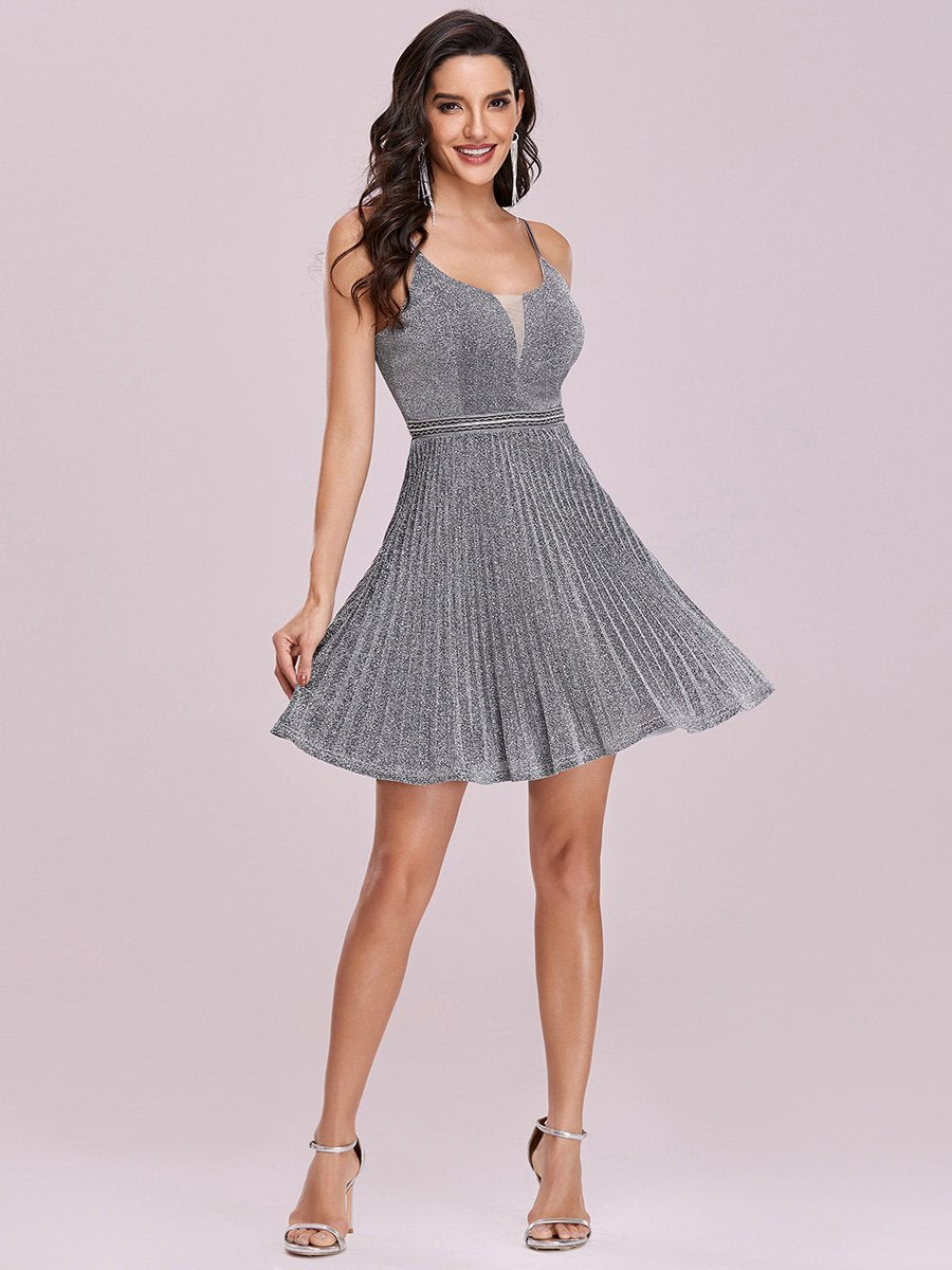 Color=Grey | Spaghetti Strap Shiny Pleated Wholesale Mini Cocktail Dress-Grey 1