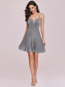 Color=Grey | Spaghetti Strap Shiny Pleated Wholesale Mini Cocktail Dress-Grey 2