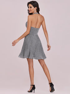 Color=Grey | Classy Short length Cocktail Dress with Deep V-neck-Grey 6