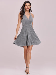 Color=Grey | Classy Short length Cocktail Dress with Deep V-neck-Grey 5