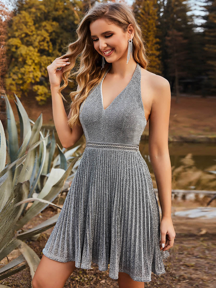 Color=Grey | Classy Short length Cocktail Dress with Deep V-neck-Grey 1