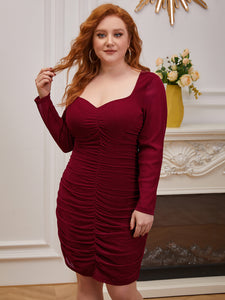 Color=Burgundy | Women'S Wholesale Pleated Long Sleeves Plus Size Cocktail Dress Ec03136-Burgundy 3
