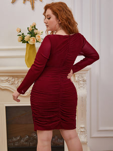 Color=Burgundy | Women'S Wholesale Pleated Long Sleeves Plus Size Cocktail Dress Ec03136-Burgundy 4