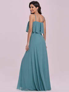 Color=Dusty blue | Simple Wholesale Side Split Chiffon Evening Dress With Spaghetti Straps Ee00108-Dusty Blue 2