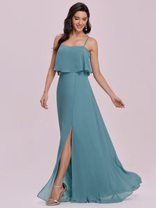 Color=Dusty blue | Simple Wholesale Side Split Chiffon Evening Dress With Spaghetti Straps Ee00108-Dusty Blue 3
