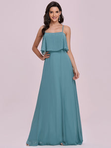 Color=Dusty blue | Simple Wholesale Side Split Chiffon Evening Dress With Spaghetti Straps Ee00108-Dusty Blue 4