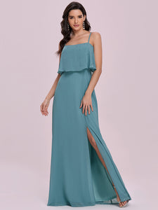 Color=Dusty blue | Simple Wholesale Side Split Chiffon Evening Dress With Spaghetti Straps Ee00108-Dusty Blue 1