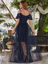 Load image into Gallery viewer, Color=Navy Blue | Classy Evening Dress with Cold Shoulders-Navy Blue 2