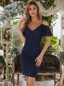 Color=Navy Blue | Classy Evening Dress with Cold Shoulders-Navy Blue 3