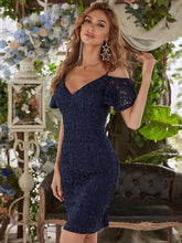 Load image into Gallery viewer, Color=Navy Blue | Classy Evening Dress with Cold Shoulders-Navy Blue 4