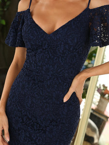 Color=Navy Blue | Classy Evening Dress with Cold Shoulders-Navy Blue 5