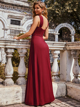 Load image into Gallery viewer, Color=Burgundy | Sweetheart A Line Floor Length Bridesmaid Dress-Burgundy 7