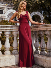 Load image into Gallery viewer, Color=Burgundy | Sweetheart A Line Floor Length Bridesmaid Dress-Burgundy 6