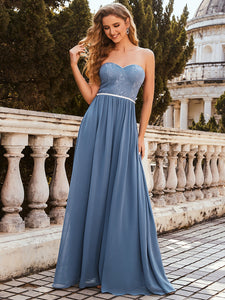 Color=Dusty Navy | Strapless A-line Evening Dress for Women-Dusty Navy 3