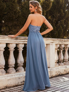 Color=Dusty Navy | Strapless A-line Evening Dress for Women-Dusty Navy 2