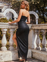 Load image into Gallery viewer, Color=Black | Off Shoulder Sequin Wholesale Evening Dress With Ruffle Design-Black 2