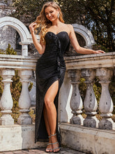 Load image into Gallery viewer, Color=Black | Off Shoulder Sequin Wholesale Evening Dress With Ruffle Design-Black 4