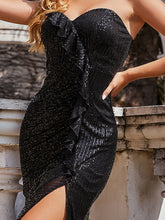 Load image into Gallery viewer, Color=Black | Off Shoulder Sequin Wholesale Evening Dress With Ruffle Design-Black 5