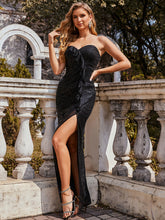Load image into Gallery viewer, Color=Black | Off Shoulder Sequin Wholesale Evening Dress With Ruffle Design-Black 1
