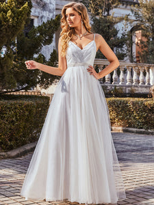 Color=Cream | Fashionable High Waist Wholesale Wedding Dress With Spaghetti Straps Eh00261-Cream 4