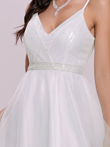 Color=Cream | Fashionable High Waist Wholesale Wedding Dress With Spaghetti Straps Eh00261-Cream 7