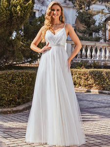 Color=Cream | Fashionable High Waist Wholesale Wedding Dress With Spaghetti Straps Eh00261-Cream 2