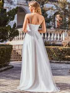 Color=Cream | Fashionable High Waist Wholesale Wedding Dress With Spaghetti Straps Eh00261-Cream 3