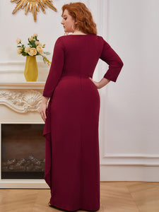 Color=Burgundy | Modest Wholesale Side Ruched Round Neck Wholesale Evening Dress-Burgundy 2