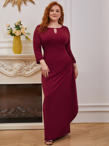 Color=Burgundy | Modest Wholesale Side Ruched Round Neck Wholesale Evening Dress-Burgundy 4