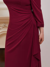 Load image into Gallery viewer, Color=Burgundy | Modest Wholesale Side Ruched Round Neck Wholesale Evening Dress-Burgundy 5