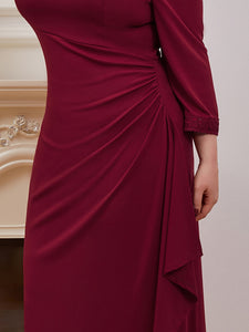 Color=Burgundy | Modest Wholesale Side Ruched Round Neck Wholesale Evening Dress-Burgundy 5